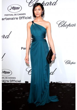 Liu Wen Blue One-shoulder Dress Chopard Mystery Party Cannes 2012
