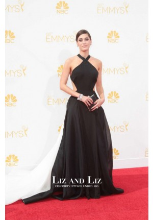 Lizzy Caplan Black and White Celebrity Prom Dress Emmys 2014 Red Carpet