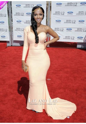 Lola Monroe Pink One-sleeve Celebrity Dress BET Awards 2012 Red Carpet