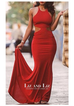 Lola Monroe Red Cut-out Backless Celebrity Dress Evening Prom Gown