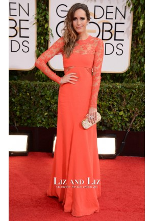 Louise Roe Orange Lace Prom Dress Golden Globes 2014 Red Carpet
