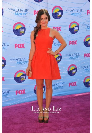 Lucy Hale Short Red Cocktail Party Celebrity Dress Teen Choice Awards 2012