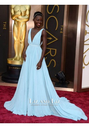 Lupita Nyong'o Blue Plunging Chiffon Gown Oscars Red Carpet Dresses 2014