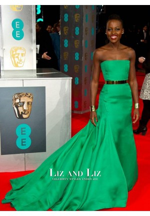 Lupita Nyong'o Green Strapless Formal Prom BAFTA 2014 Red Carpet Dress