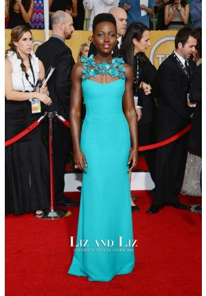 Lupita Nyong'o Blue Evening Prom Dress 2014 SAG Awards Red Carpet