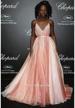 Lupita Nyong'o Inspired Pink And White Celebrity Prom Dress Cannes 2018