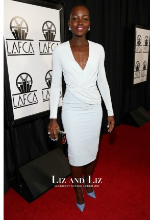 Lupita Nyong'o White Cocktail Party Dress Film Critics Association Awards