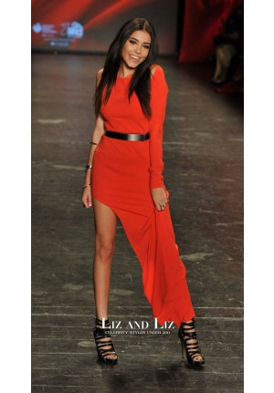 Madison Beer Red One-sleeve Long Formal Celebrity Dress Prom Gown