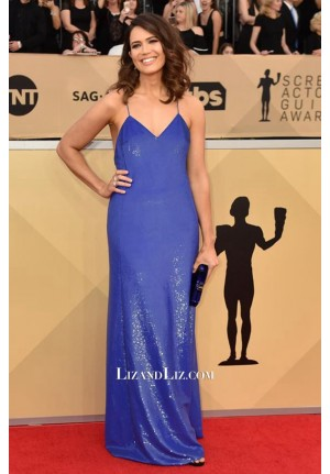 Mandy Moore Blue Spaghetti Straps Celebrity Prom Dress SAG Awards 2018