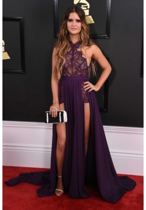 Maren Morris Purple Lace Formal Prom Dress Grammys 2017 Red Carpet