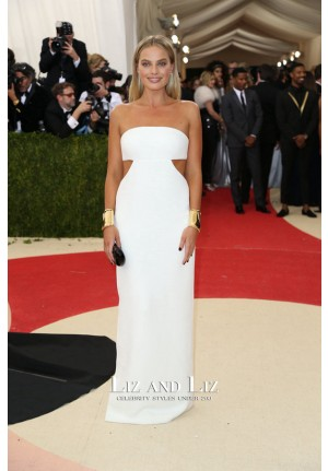 Margot Robbie White Strapless Cut-out Red Carpet Dresses Met Gala 2016