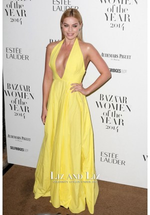 Margot Robbie Yellow V-neck Celebrity Dress Women Of The Year Awards