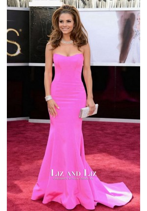 Maria Menounos Pink Strapless Red Carpet Gown 2013 Oscars Dresses