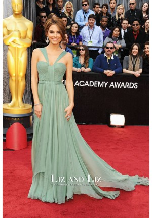 Maria Menounos Green Halter Chiffon Red Carpet Dress Oscars 2012