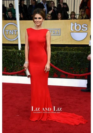 Maria Menounos Red Backless Prom Red Carpet Dress SAG Awards 2013