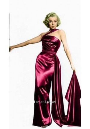 "Marilyn Monroe Burgundy One-shoulder Satin Dress ""How to Marry a Millionaire"""