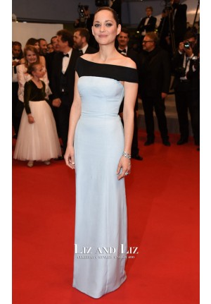 Marion Cotillard Black and Blue Prom Dress Cannes 2015 Red Carpet