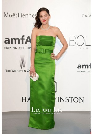 Marion Cotillard Green Strapless Satin Red Carpet Dress amfAR Gala 2015
