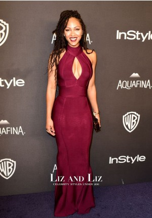 Meagan Good Burgundy Mermaid Prom Dress Golden Globes 2016 Party