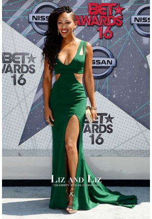 Meagan Good Green Cut-out Evening Prom Celebrity Dress BET Awards 2016