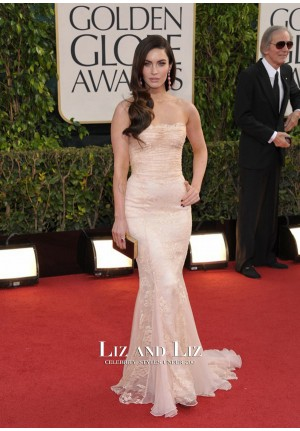Megan Fox Pink Strapless Mermaid Lace Red Carpet Dress Golden Globes 2013