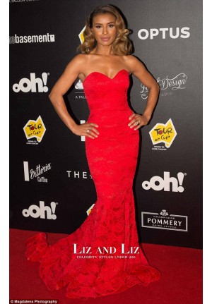 Melody Thornton Red Strapless Mermaid Lace Celebrity Dress Evening Prom Gown