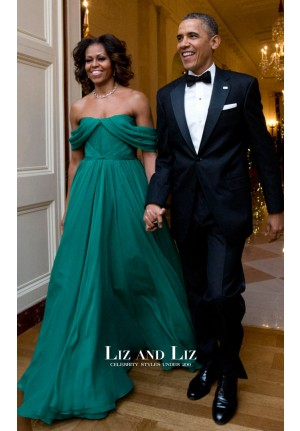 Michelle Obama Green Off-the-shoulder Dress Kennedy Center Honors Gala
