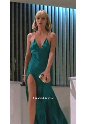 """Michelle Pfeiffer Teal Blue V-neck Satin Celebrity Prom Dress In Movie """"Scarface"""""""