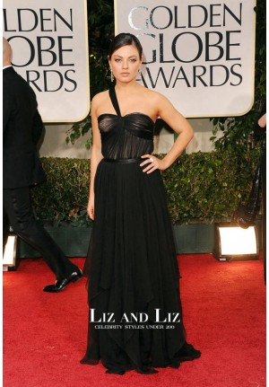 Mila Kunis Black One-shoulder Red Carpet Dress Golden Globes 2012