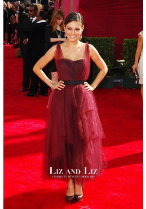 Mila Kunis Burgundy Tulle Evening Prom Celebrity Prom Dress Emmys 2009