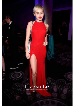 Miley Cyrus Sexy Red Halter Backless Prom Dress Pre-Grammy 2015