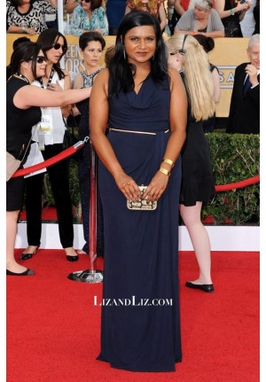 Mindy Kaling Navy Evening Prom Celebrity Dress SAG Awards 2014 Red Carpet