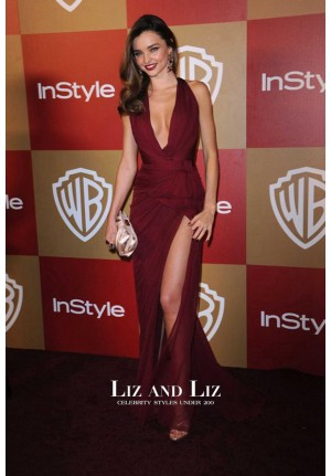 Miranda Kerr Burgundy V-neck Chiffon Celebrity Dress Golden Globes Party 2013