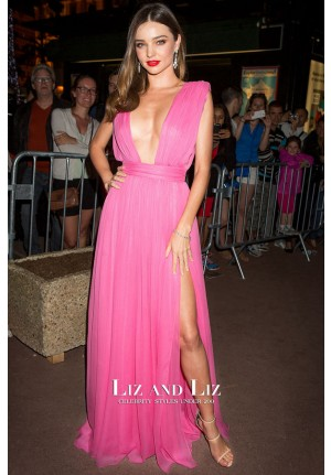 Miranda Kerr Fuchsia Pink Dress Magnum Black and Pink Launch Party