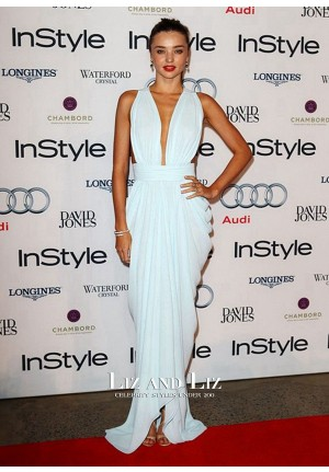 Miranda Kerr Blue Plunging Chiffon Celebrity Dresses 2012 Women of Style Awards