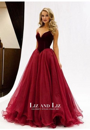 Olivia Jordan Burgundy Strapless Sweetheart Prom Dress Miss USA 2015