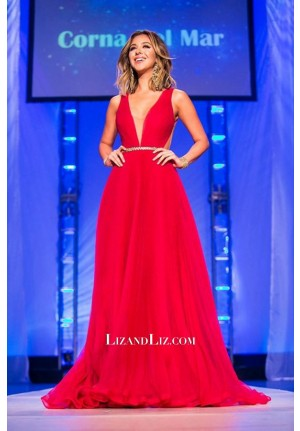 Nadia Mejia Red V-neck Pageant Evening Prom Dress Miss California USA 2016