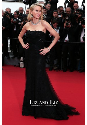 Naomi Watts Black Strapless Lace Celebrity Dress Cannes 2015 Red Carpet