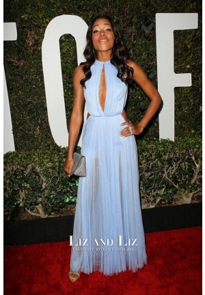 Naomie Harris Blue Cut-out Chiffon Celebrity Prom Dress 'Mandela' LA Premiere