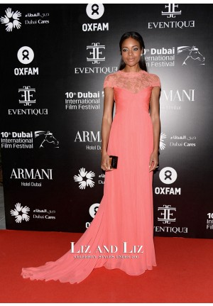 Naomie Harris Peach Lace Chiffon Celebrity Prom Dress Oxfam Charity Gala