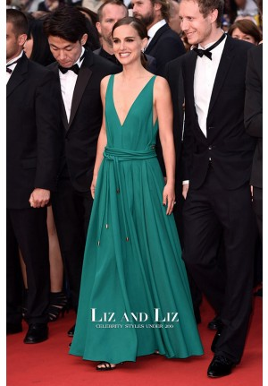 Natalie Portman Green V-neck Chiffon Red Carpet Dress Cannes 2015