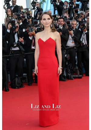 Natalie Portman Red Strapless Red Carpet Prom Dresses Cannes 2015