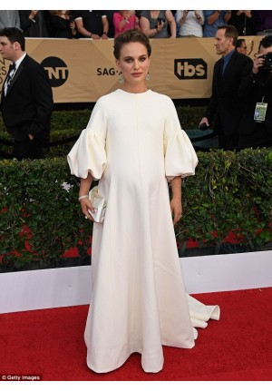 Natalie Portman White Maternity Formal Celebrity Dress SAG Awards 2017