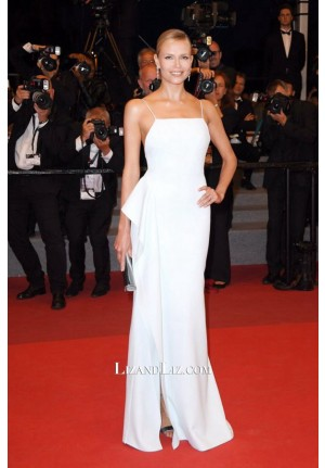 Natasha Poly White Formal Evening Prom Gown Celebrity Dress Cannes 2017
