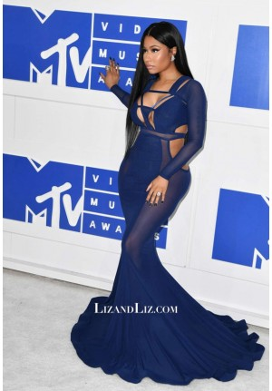Nicki Minaj Inspired Sexy Royal Blue Cut-out Celebrity Dress MTV VMA 2016