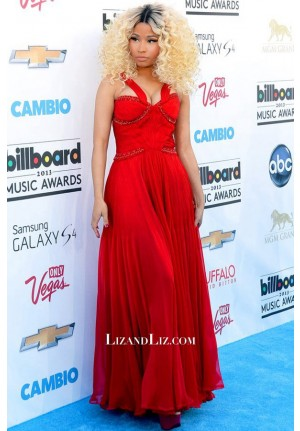 Nicki Minaj Red Evening Prom Celebrity Dress Billboard Music Awards 2013