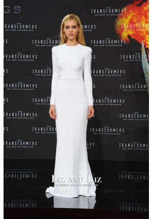 Nicola Peltz White Long-sleeve Celebrity Dress Transformers Berlin Premiere