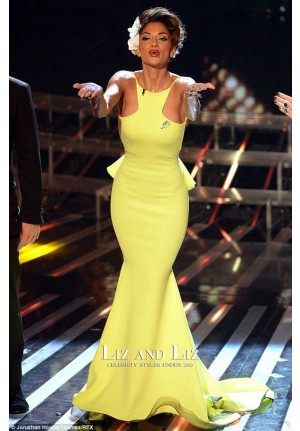 Nicole Scherzinger Neon Yellow Mermaid Celebrity Prom Dresses X-Factor