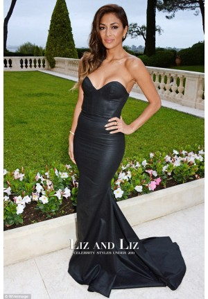 Nicole Scherzinger Black Strapless Mermaid Red Carpet Dress amfAR Gala