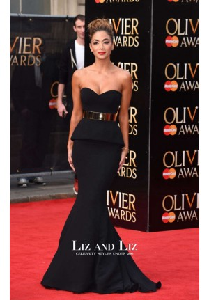 Nicole Scherzinger Black Strapless Mermaid Prom Dress 2015 Olivier Awards